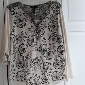 Style & Co olive green and cream colored blouse